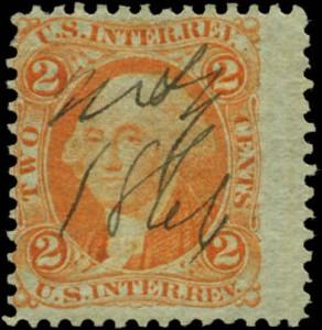 Certificate #521143 - Scott #R15e, Orange on Green Paper